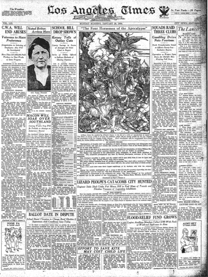 1934 Los Angeles Times article about the Lizard City beneath Los Angeles